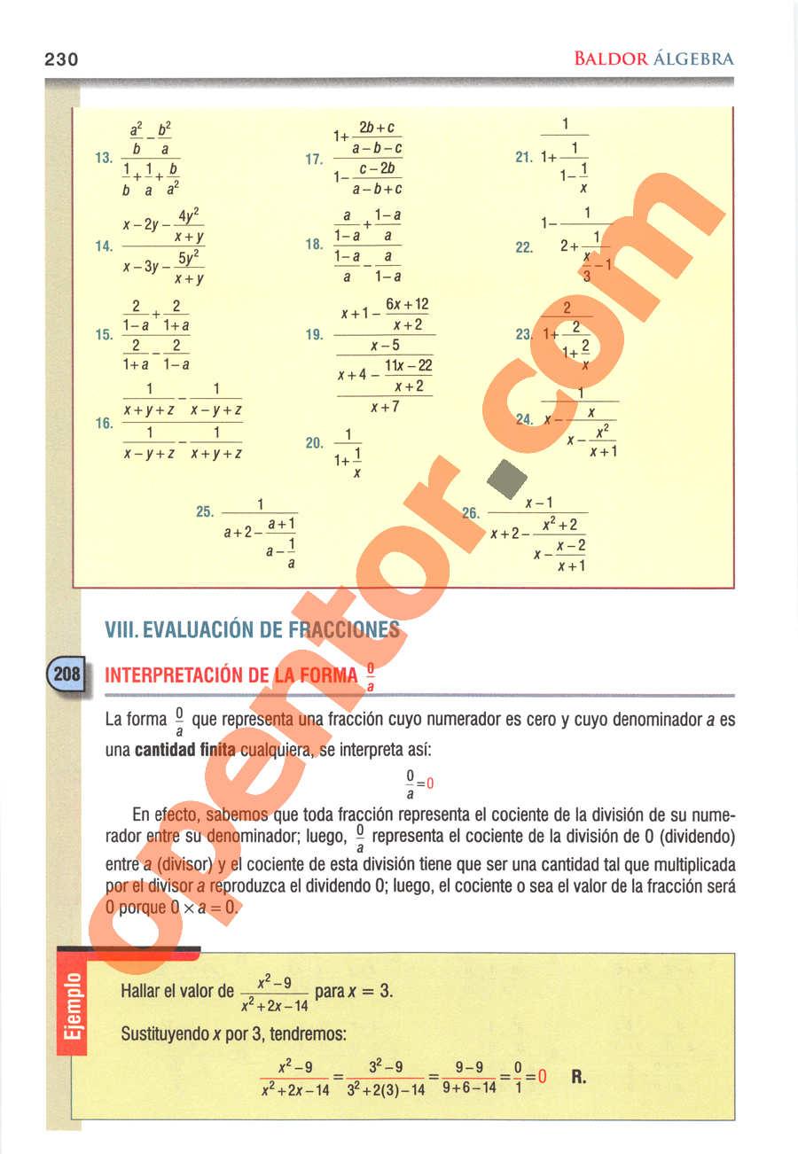 Álgebra de Baldor - Página 230