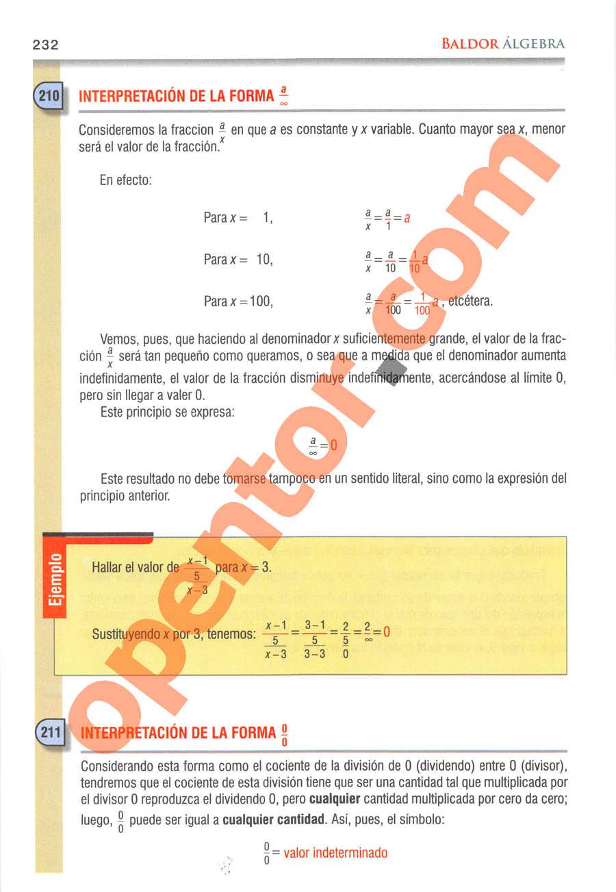 Álgebra de Baldor - Página 232