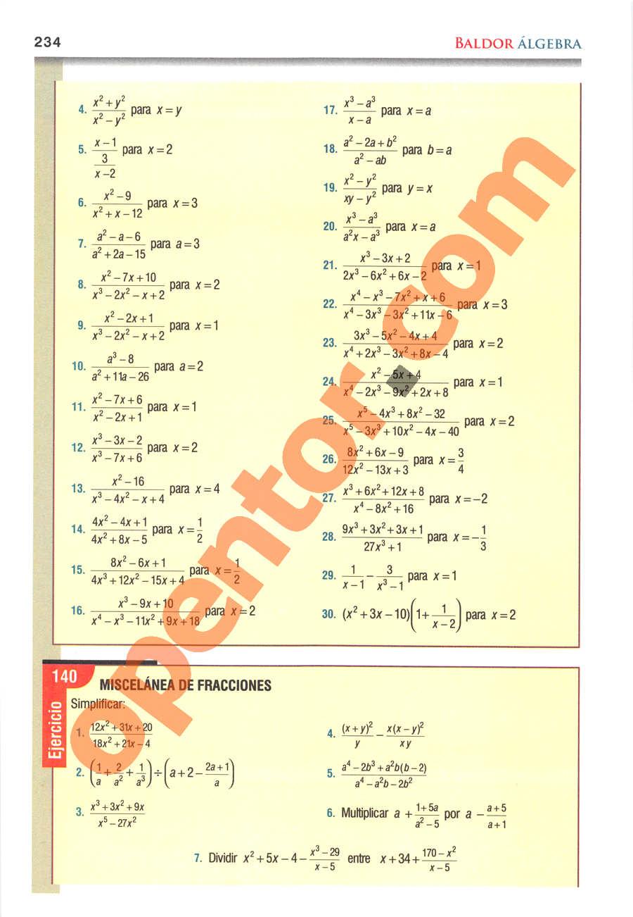 Álgebra de Baldor - Página 234