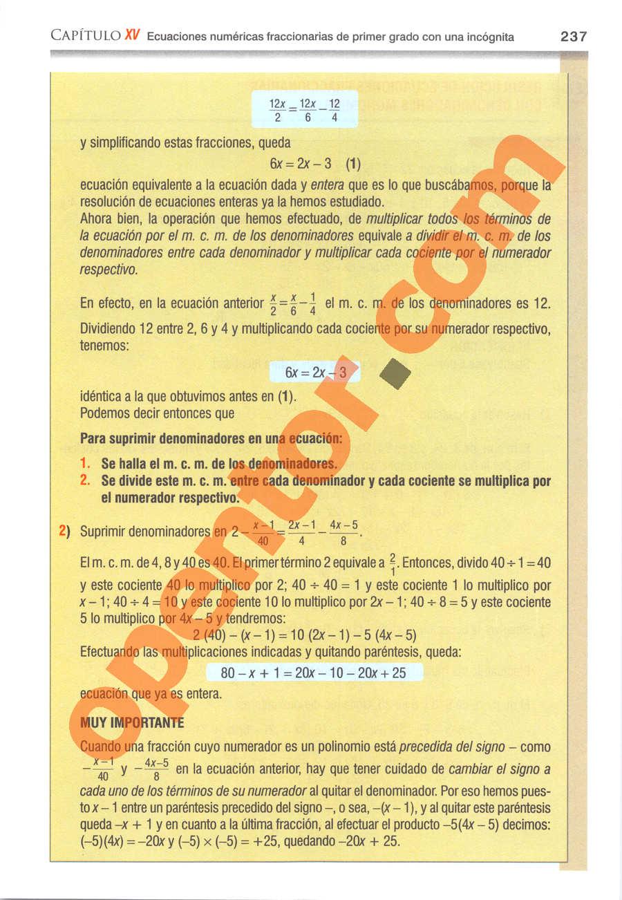 Álgebra de Baldor - Página 237