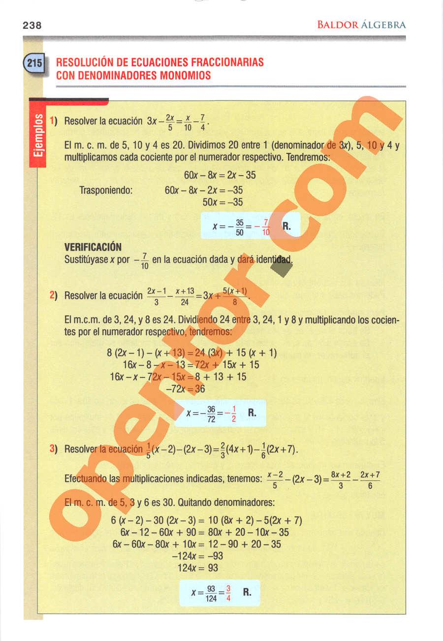 Álgebra de Baldor - Página 238