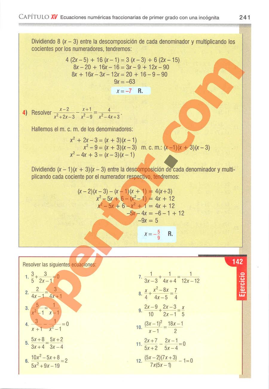 Álgebra de Baldor - Página 241
