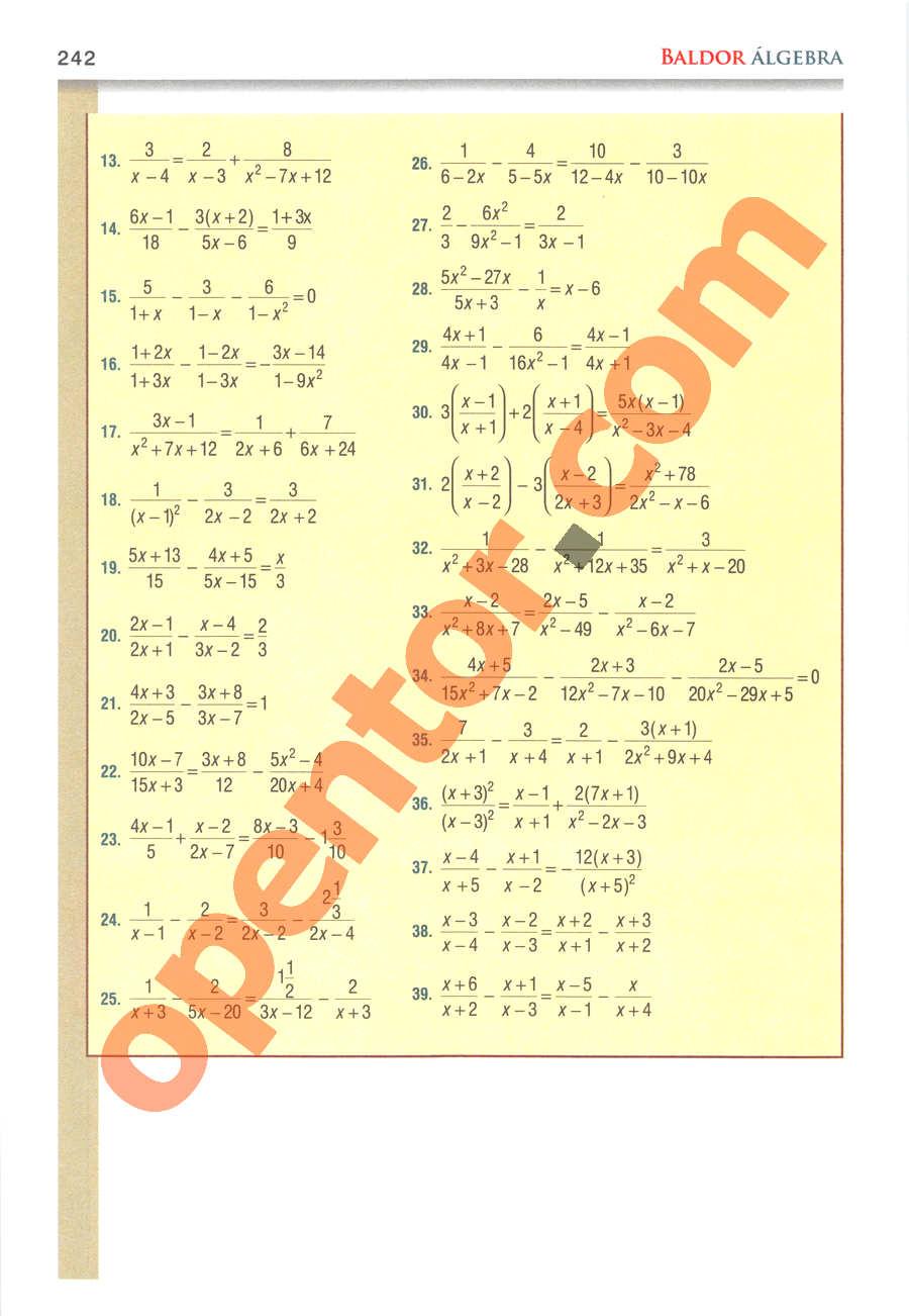 Álgebra de Baldor - Página 242