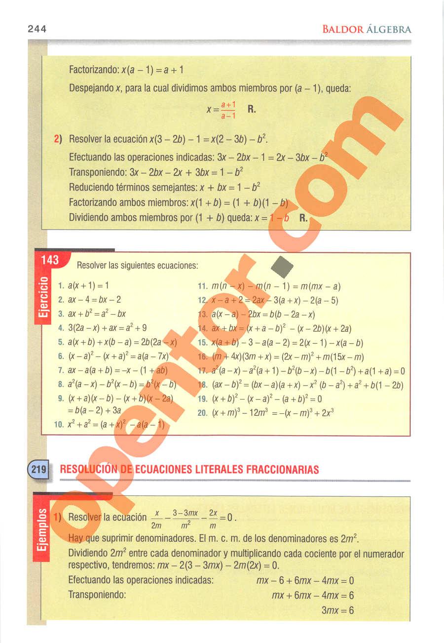 Álgebra de Baldor - Página 244