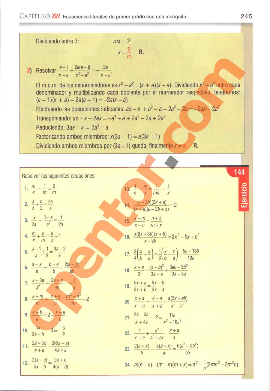 Álgebra de Baldor - Página 245