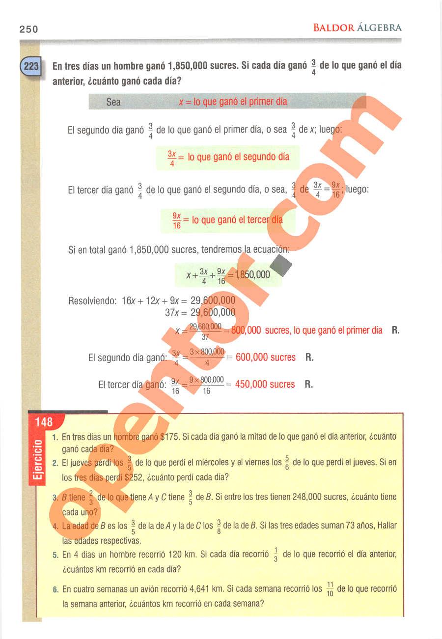 Álgebra de Baldor - Página 250