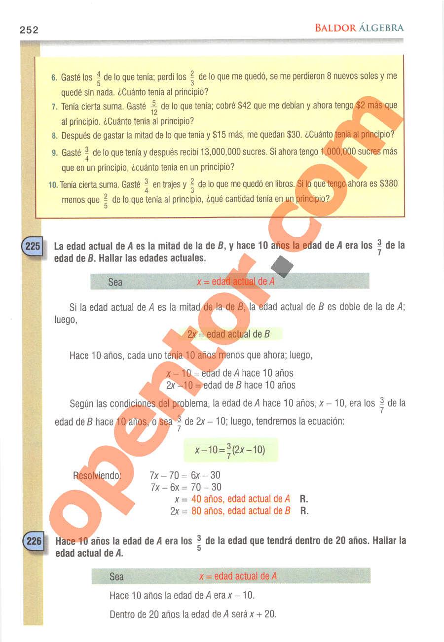 Álgebra de Baldor - Página 252