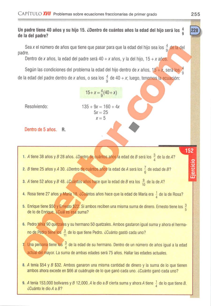 Álgebra de Baldor - Página 255