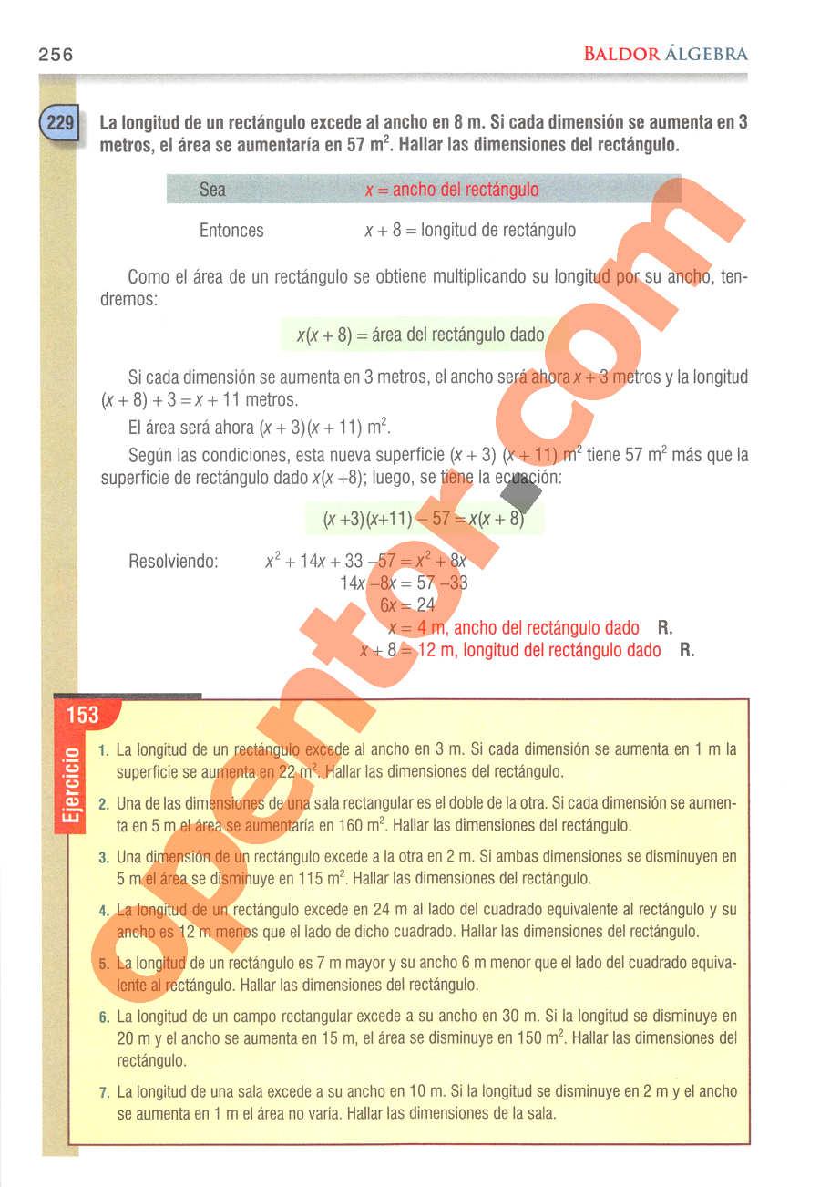 Álgebra de Baldor - Página 256