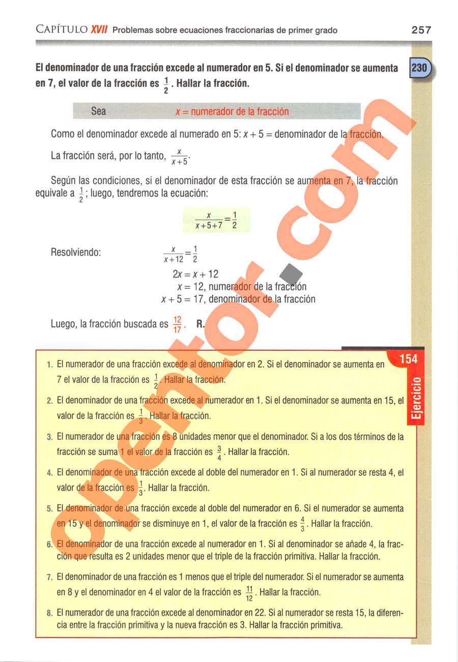 Álgebra de Baldor - Página 257