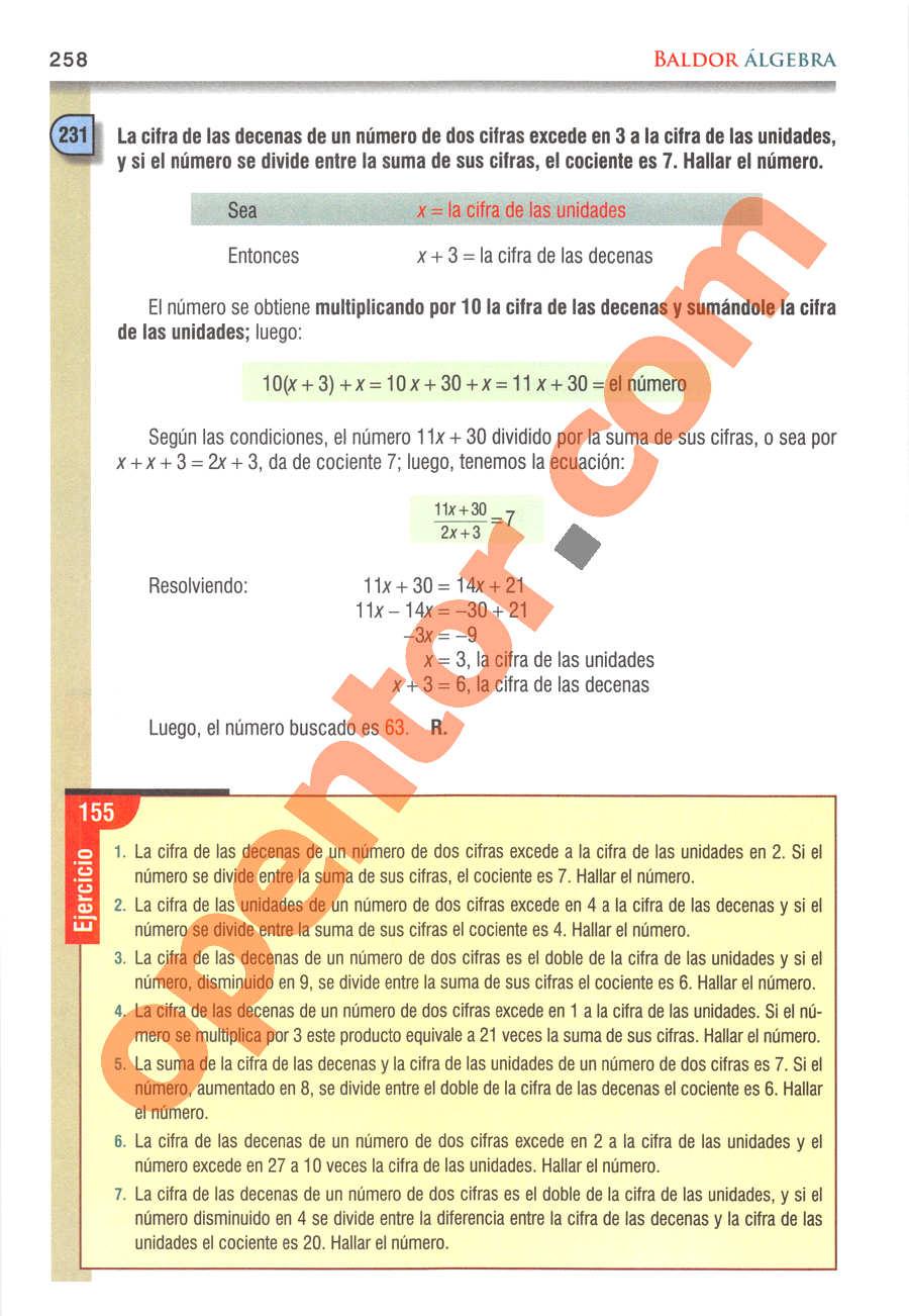 Álgebra de Baldor - Página 258