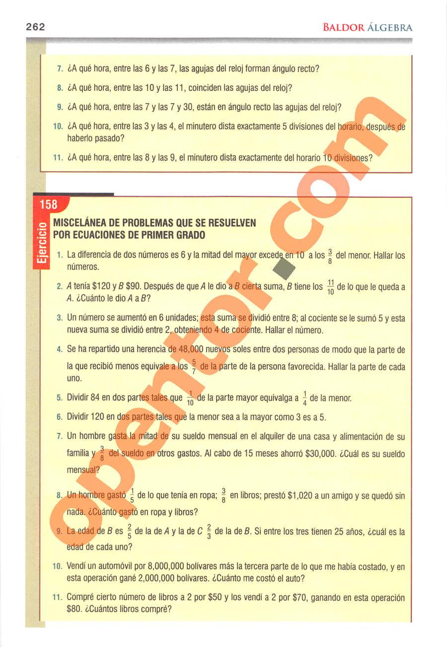Álgebra de Baldor - Página 262