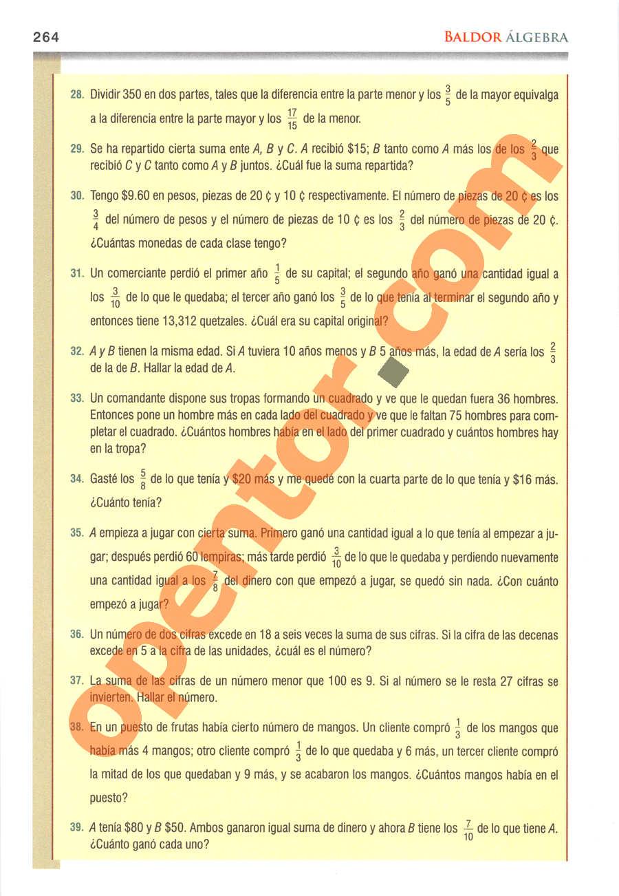 Álgebra de Baldor - Página 264
