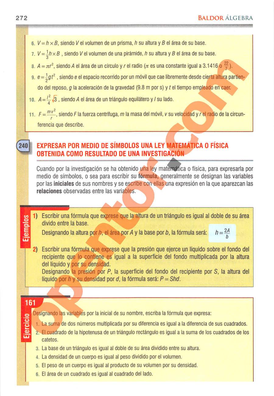 Álgebra de Baldor - Página 272