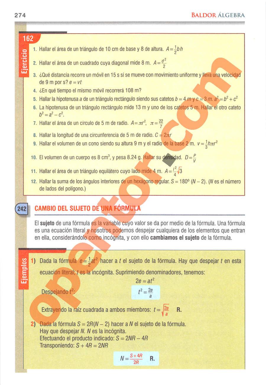 Álgebra de Baldor - Página 274