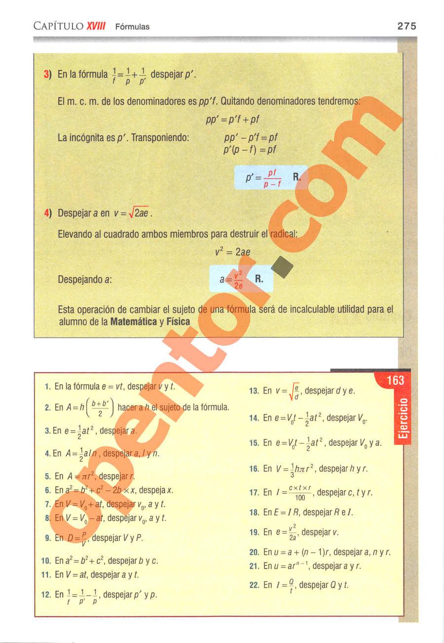 Álgebra de Baldor - Página 275