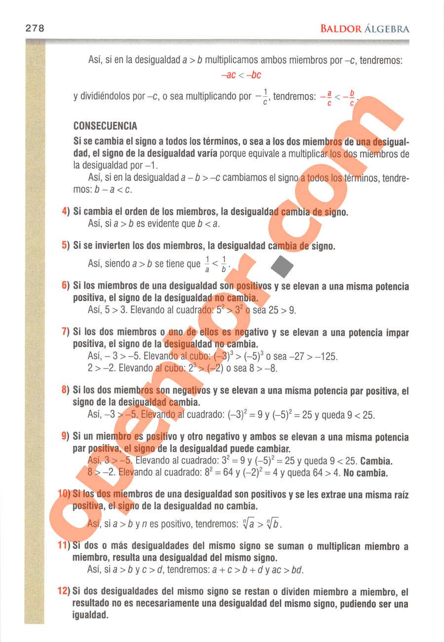 Álgebra de Baldor - Página 278