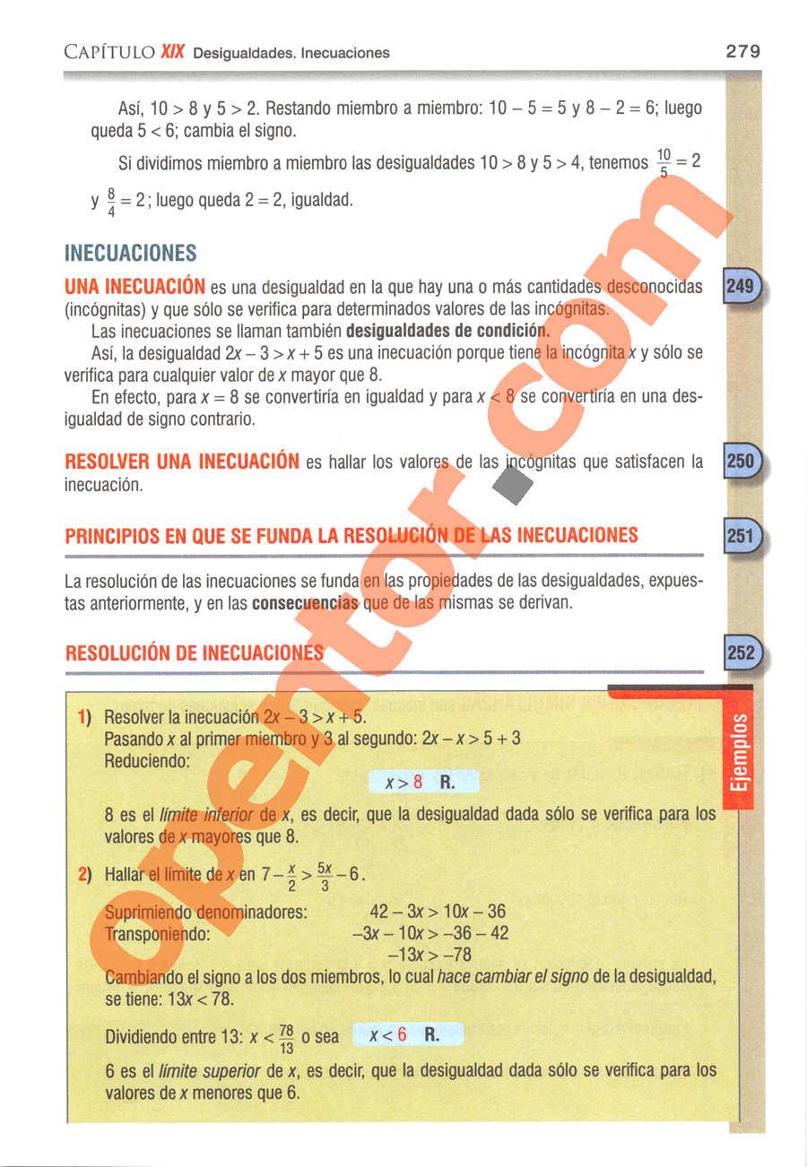 Álgebra de Baldor - Página 279