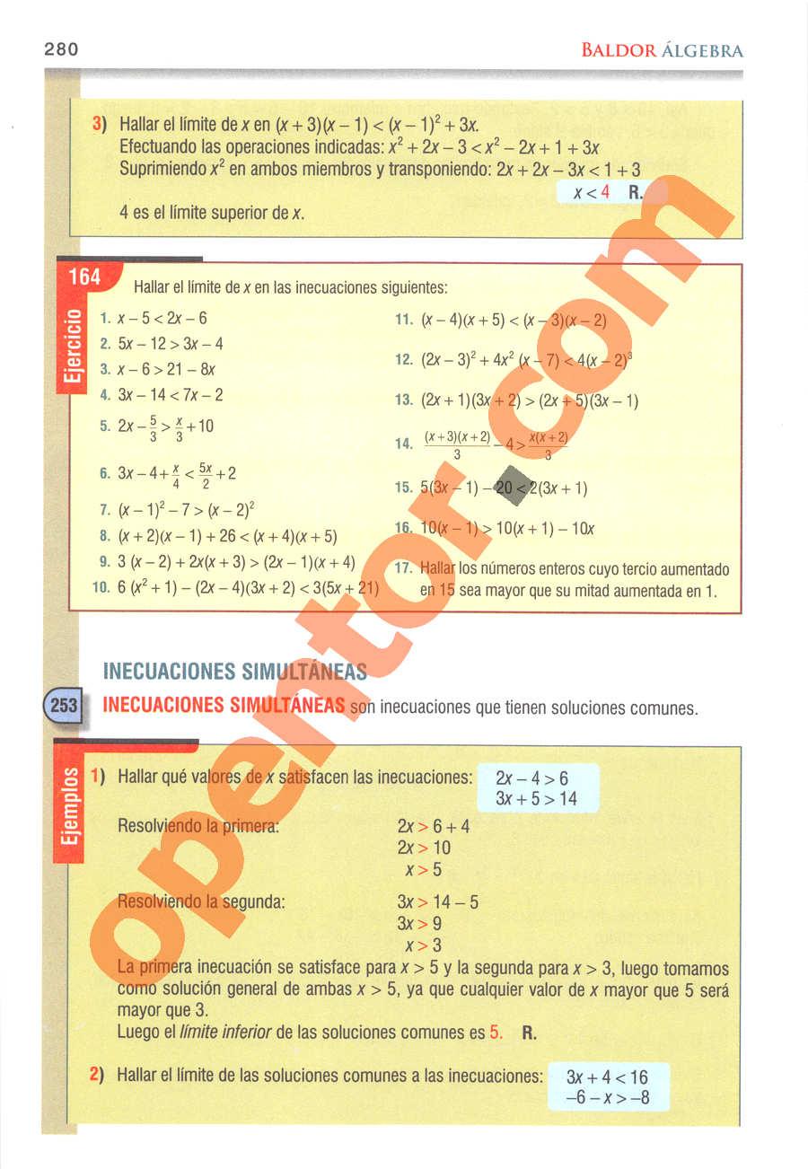 Álgebra de Baldor - Página 280
