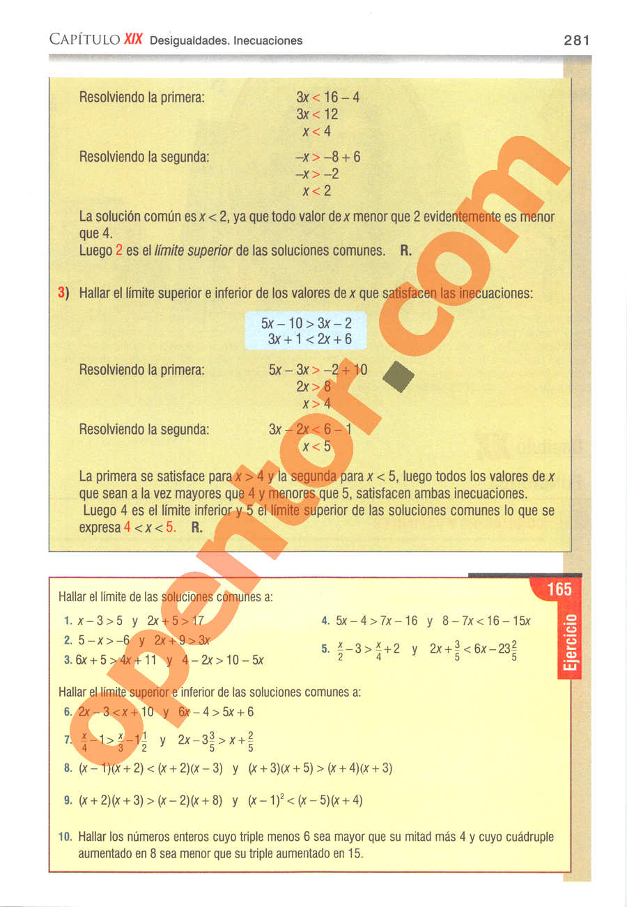 Álgebra de Baldor - Página 281