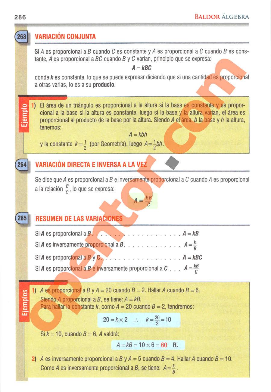 Álgebra de Baldor - Página 286