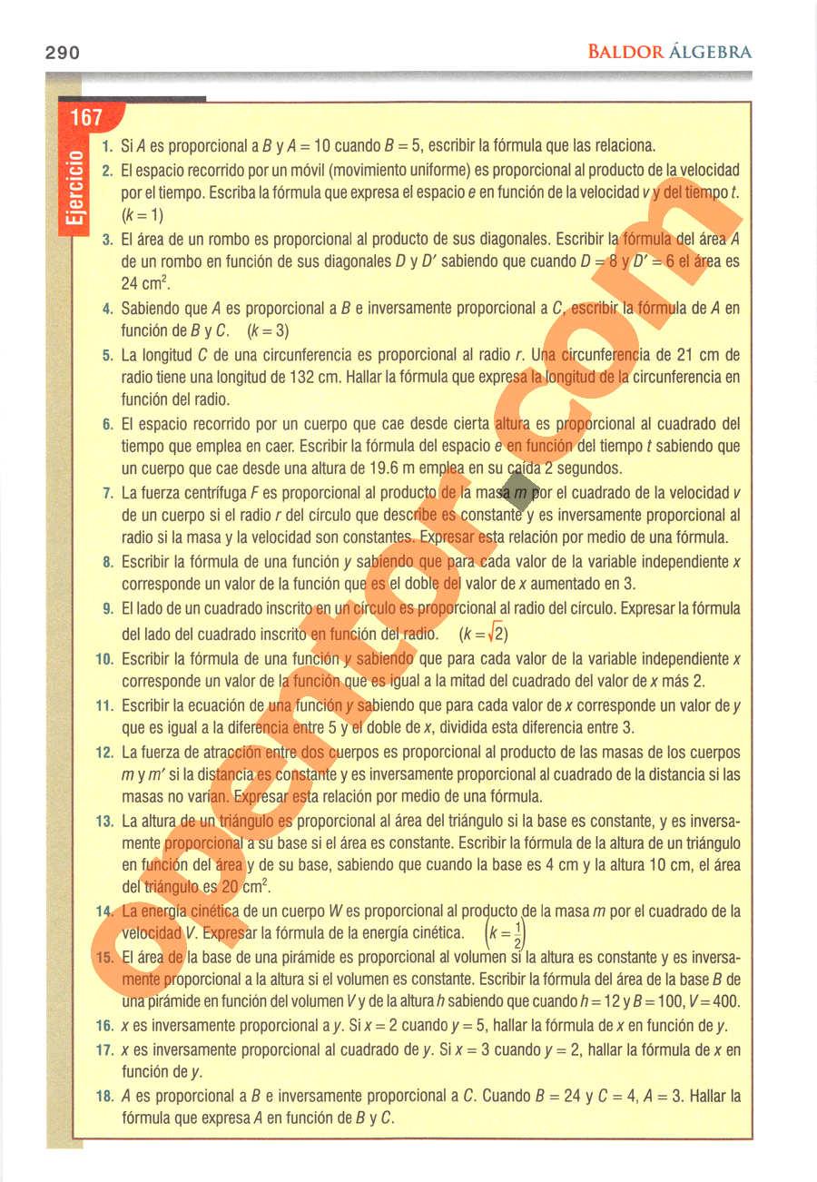 Álgebra de Baldor - Página 290