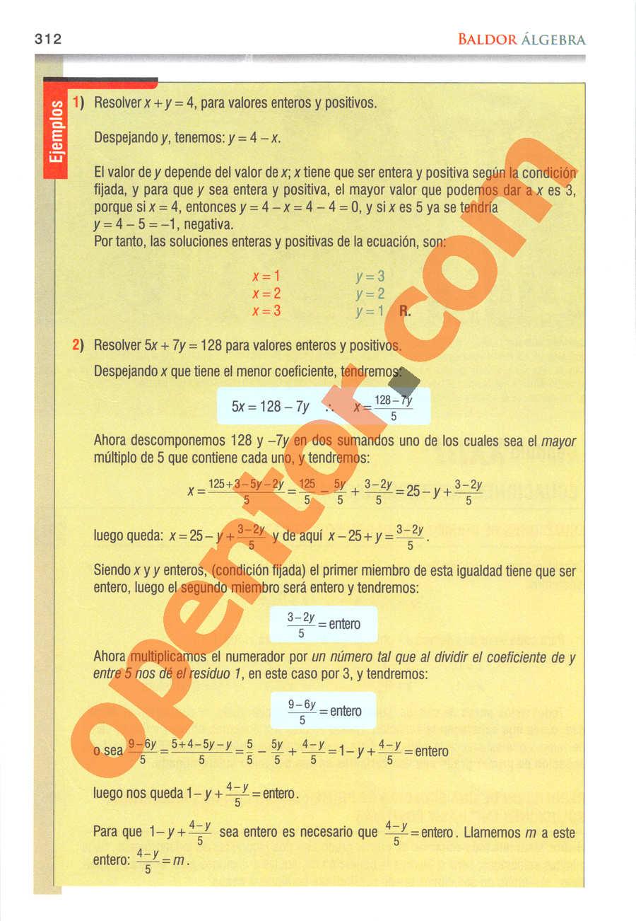 Álgebra de Baldor - Página 312
