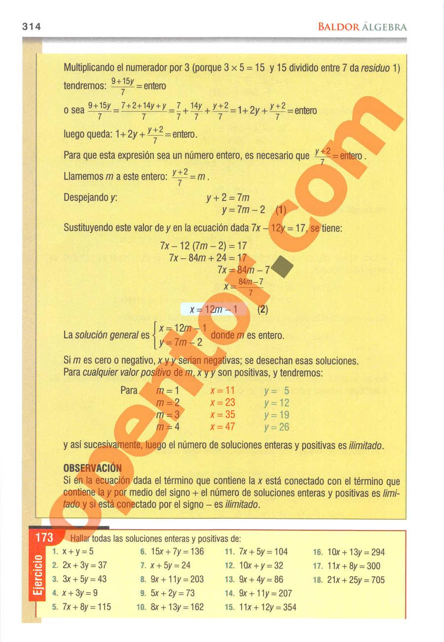 Álgebra de Baldor - Página 314