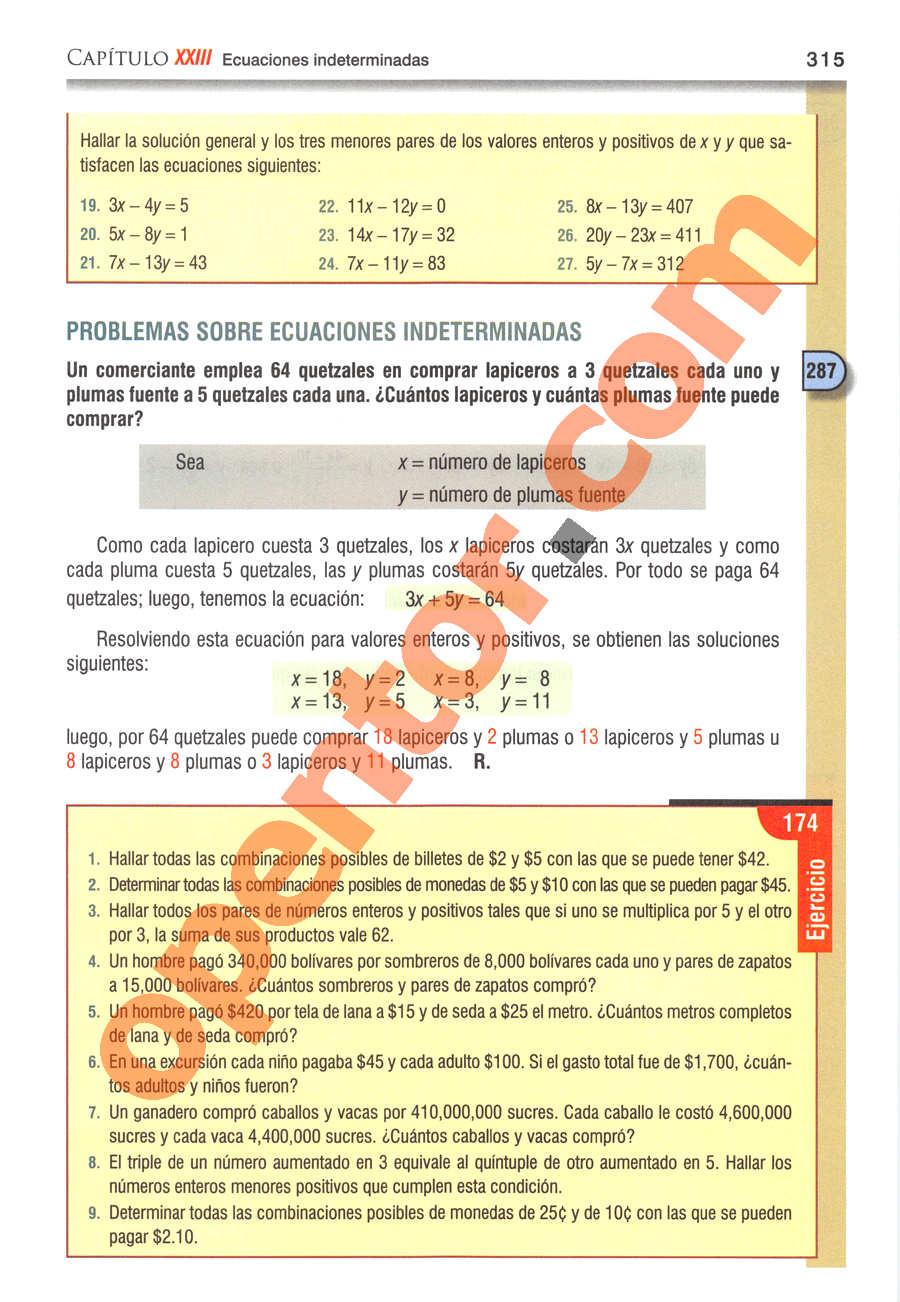 Álgebra de Baldor - Página 315