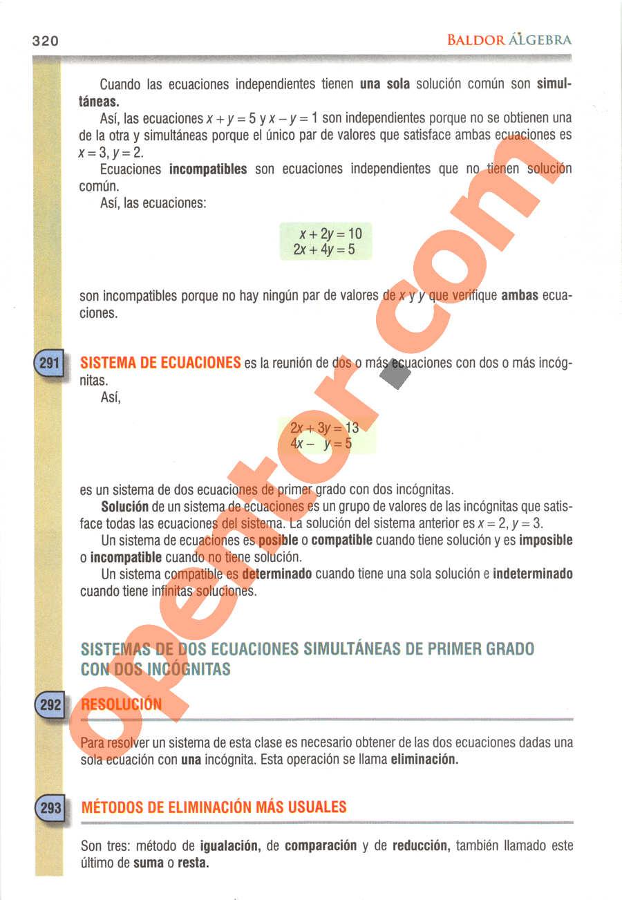 Álgebra de Baldor - Página 320