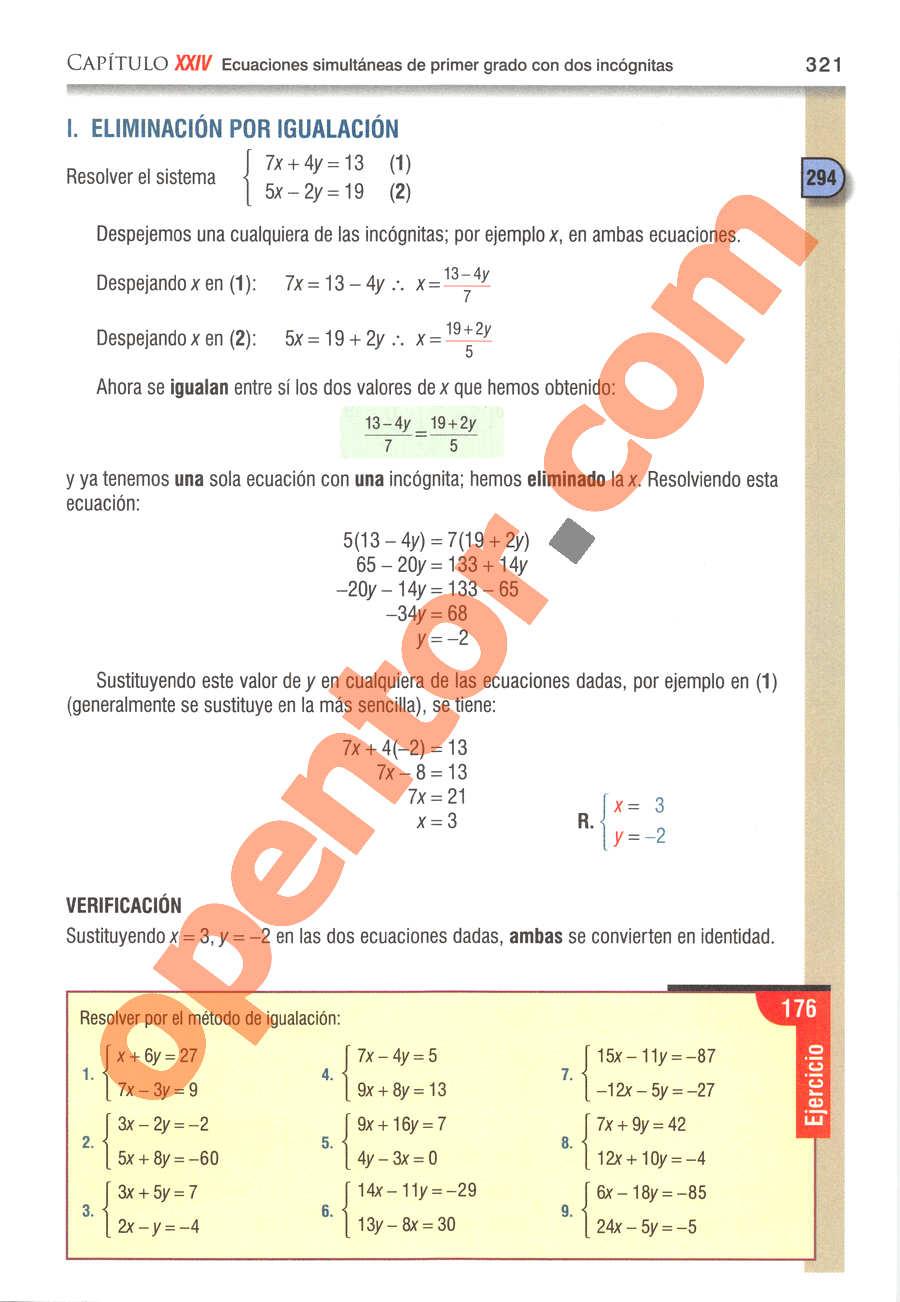Álgebra de Baldor - Página 321
