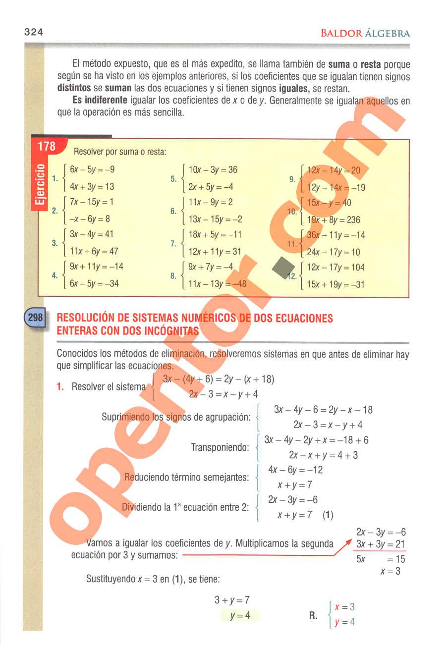 Álgebra de Baldor - Página 324
