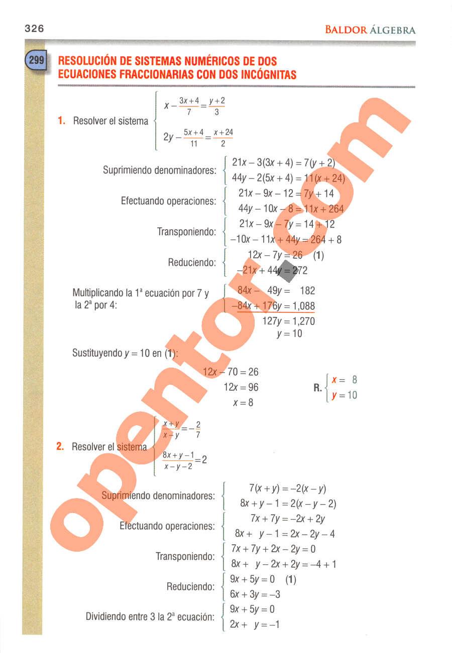 Álgebra de Baldor - Página 326