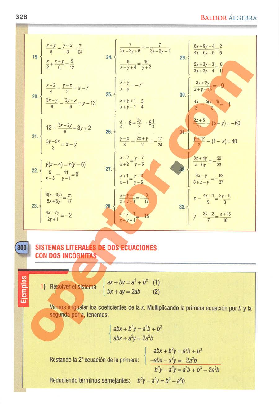 Álgebra de Baldor - Página 328