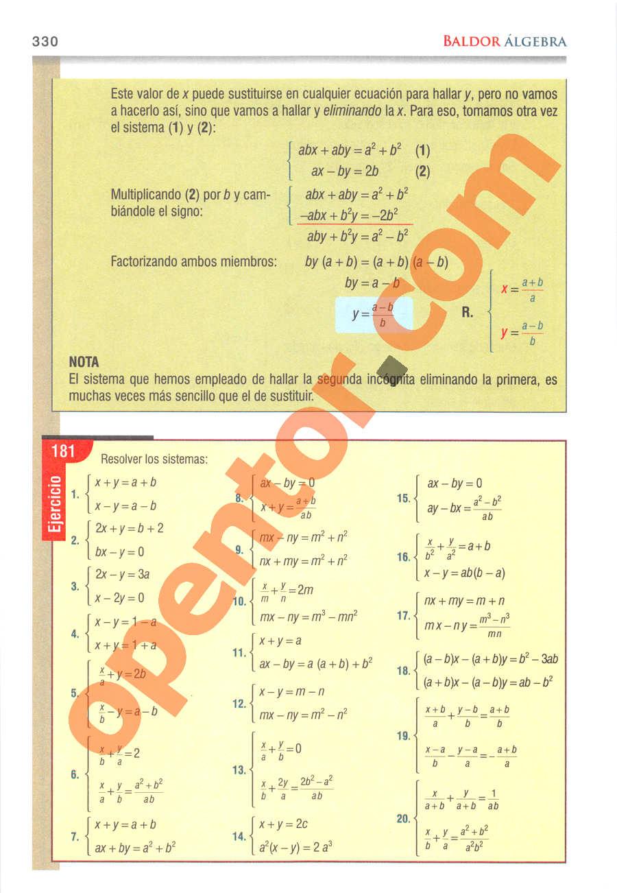 Álgebra de Baldor - Página 330