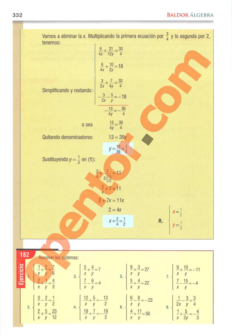 Álgebra de Baldor - Página 332