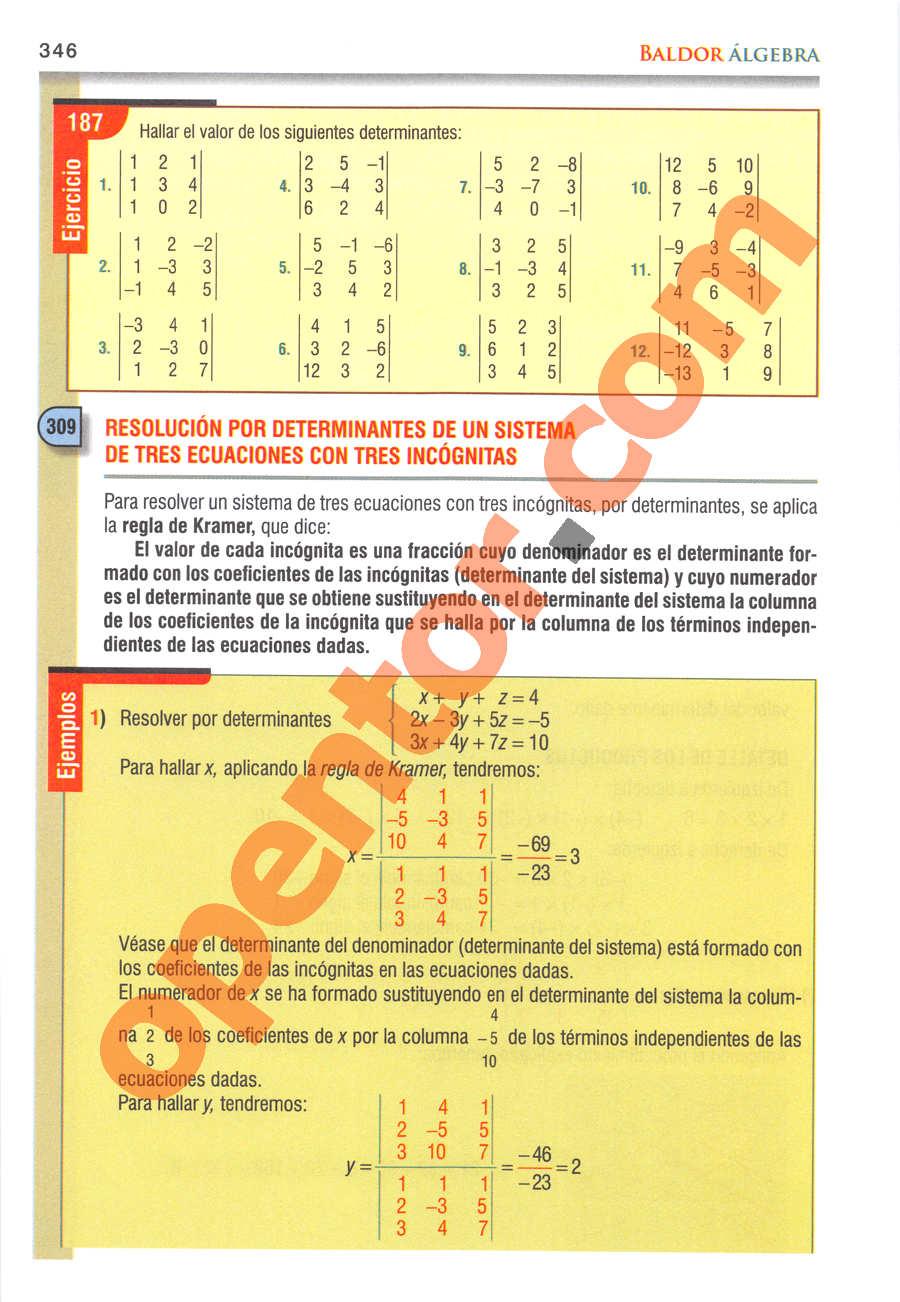 Álgebra de Baldor - Página 346