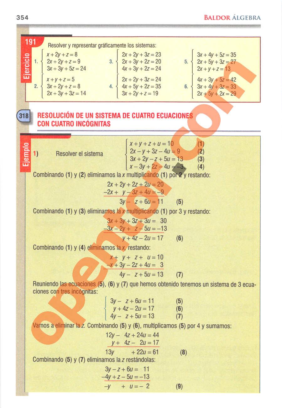 Álgebra de Baldor - Página 354