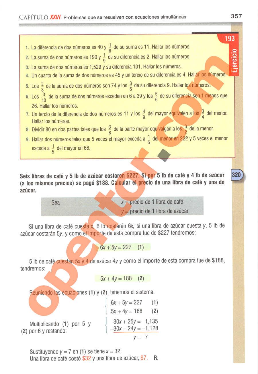 Álgebra de Baldor - Página 357