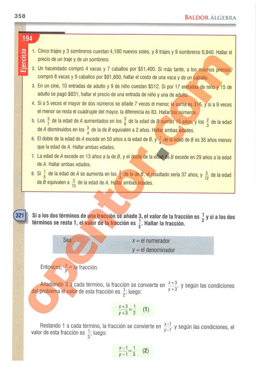 Álgebra de Baldor - Página 358