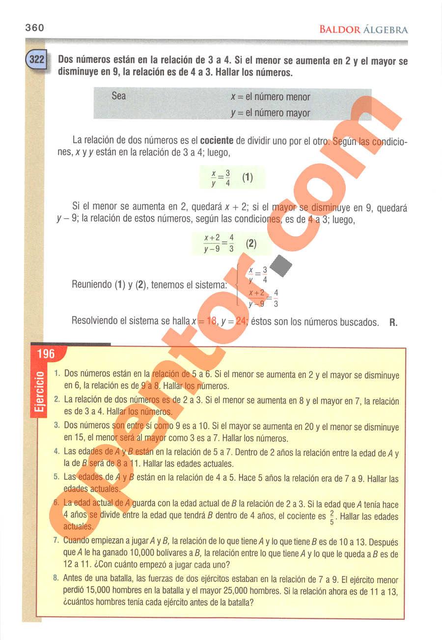 Álgebra de Baldor - Página 360