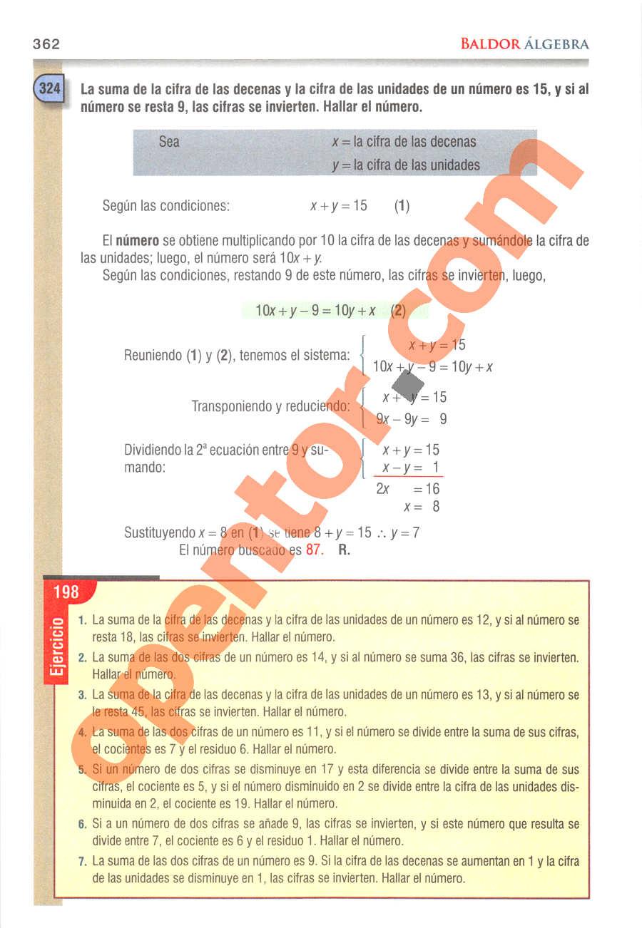 Álgebra de Baldor - Página 362