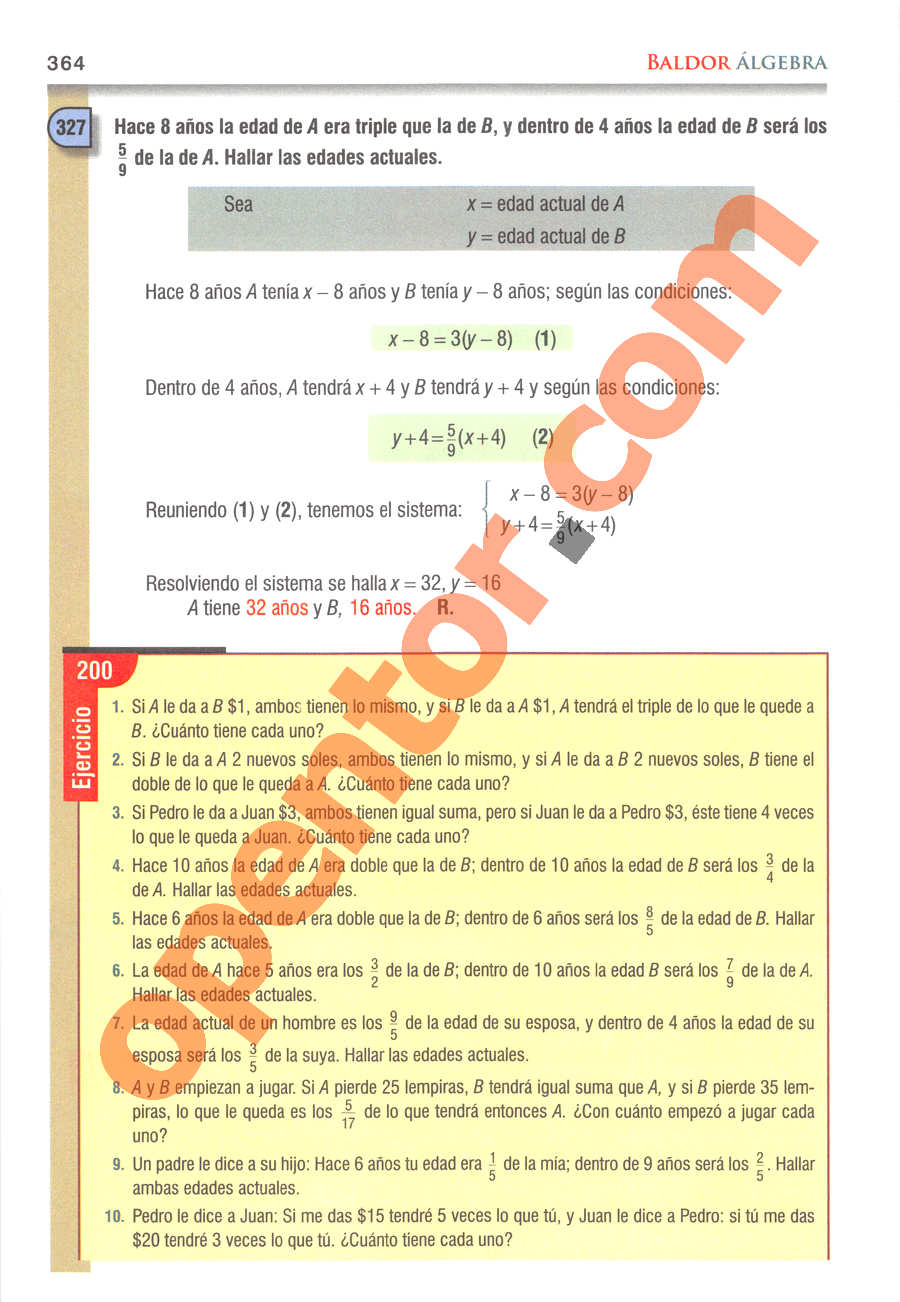 Álgebra de Baldor - Página 364