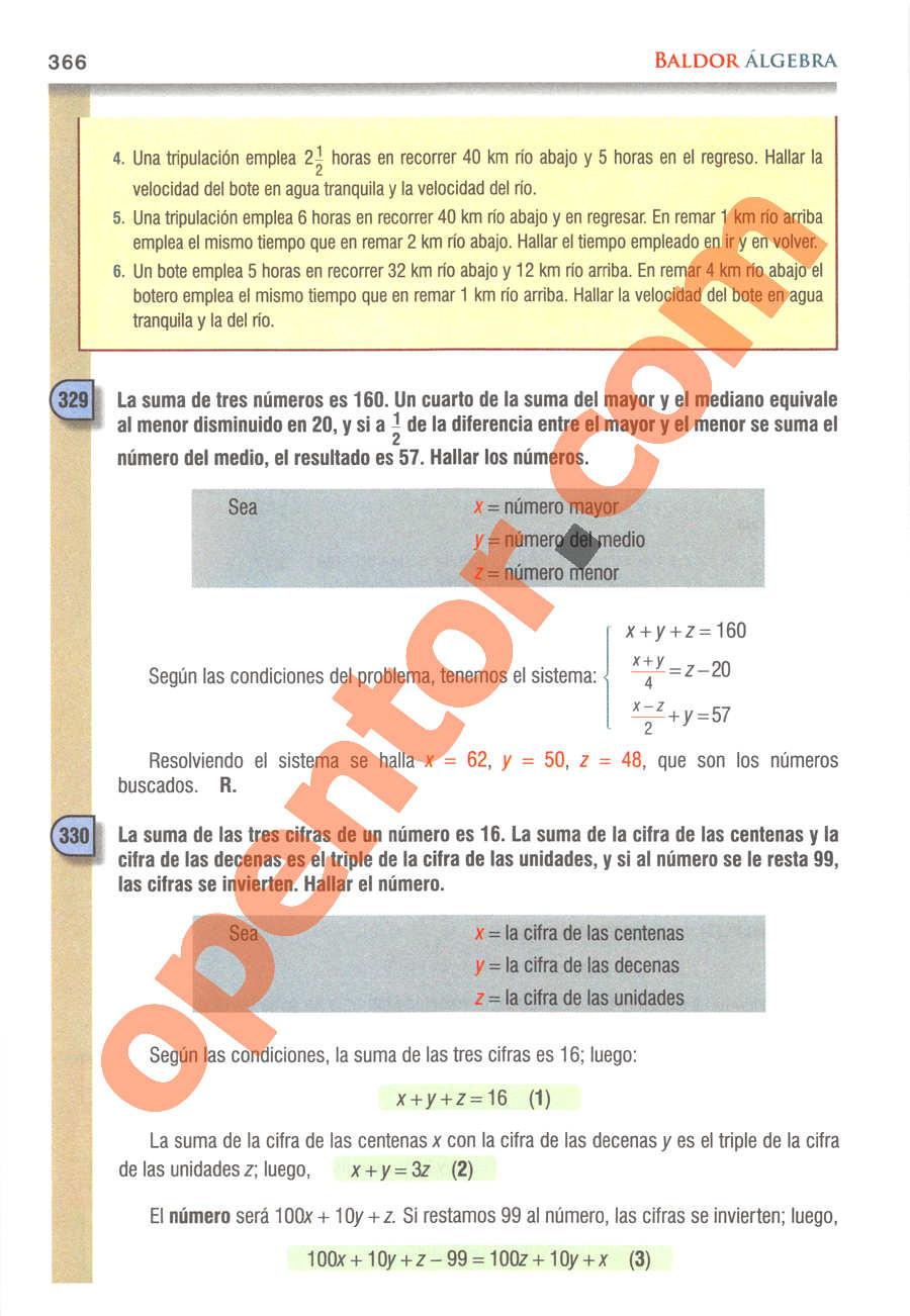 Álgebra de Baldor - Página 366