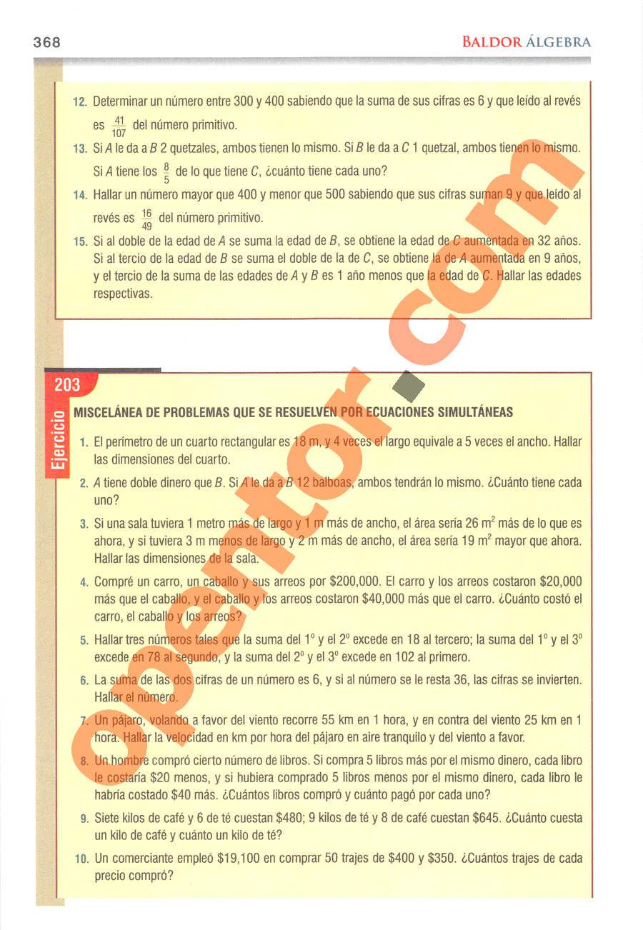 Álgebra de Baldor - Página 368