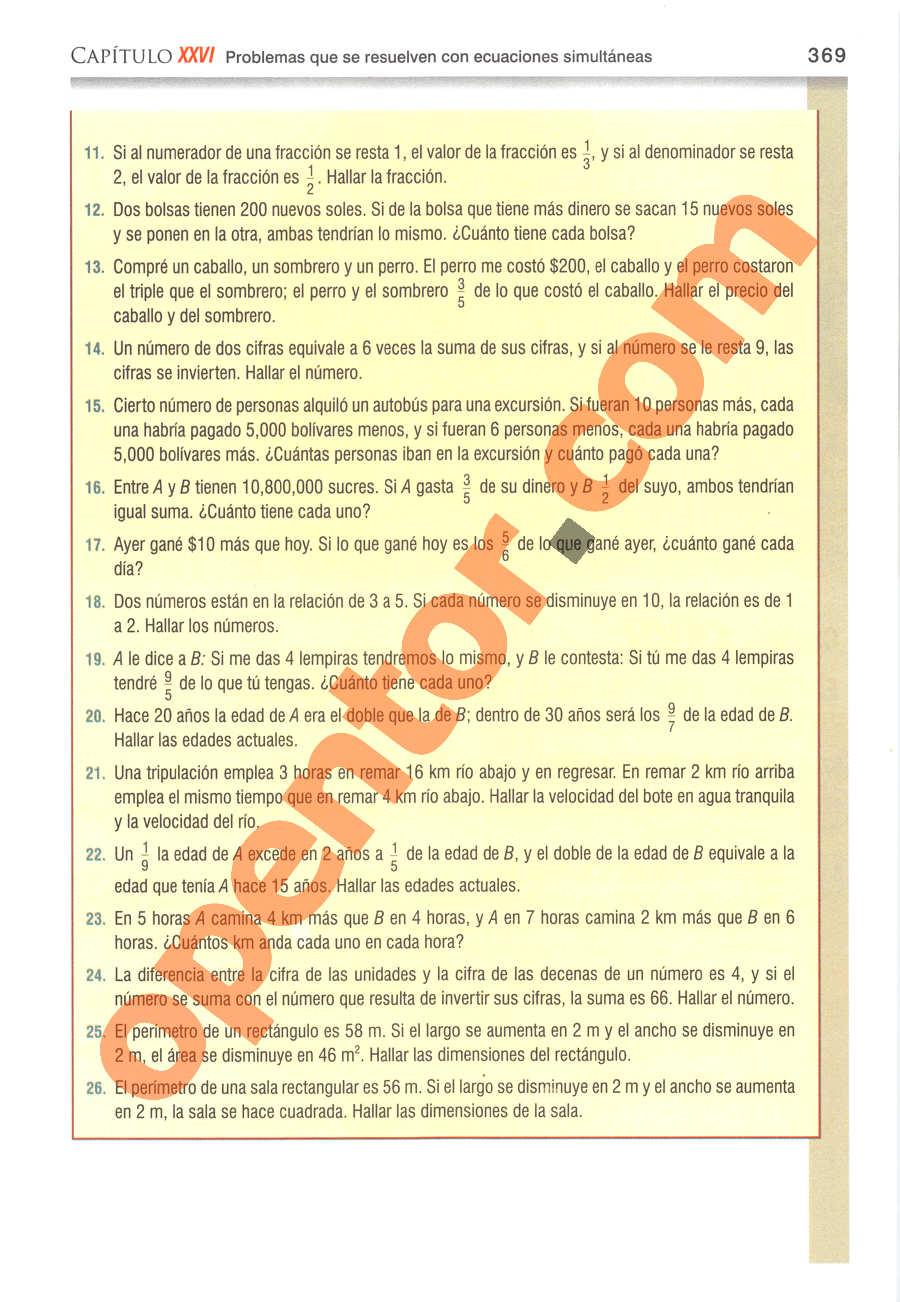 Álgebra de Baldor - Página 369