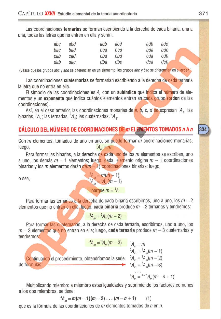 Álgebra de Baldor - Página 371
