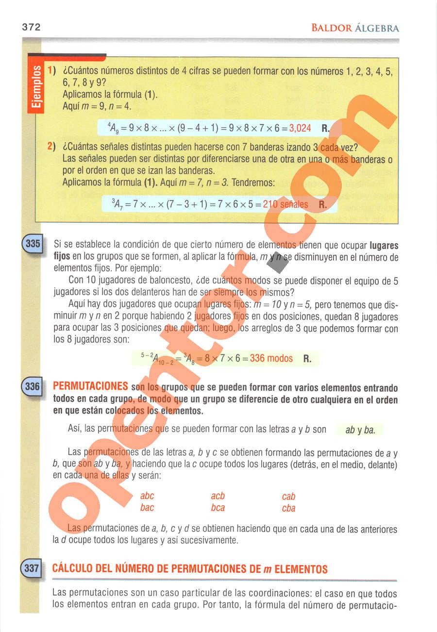 Álgebra de Baldor - Página 372