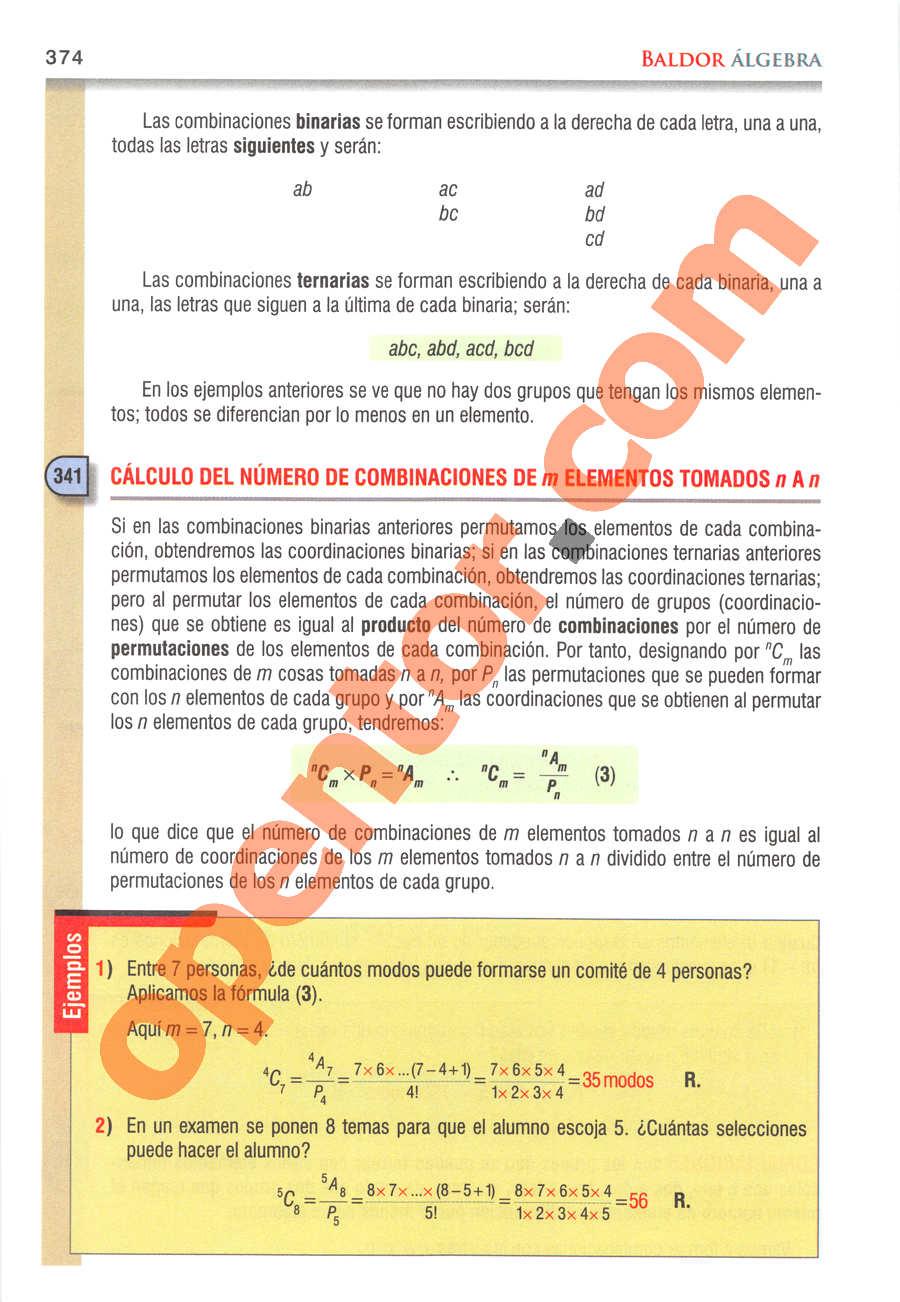 Álgebra de Baldor - Página 374