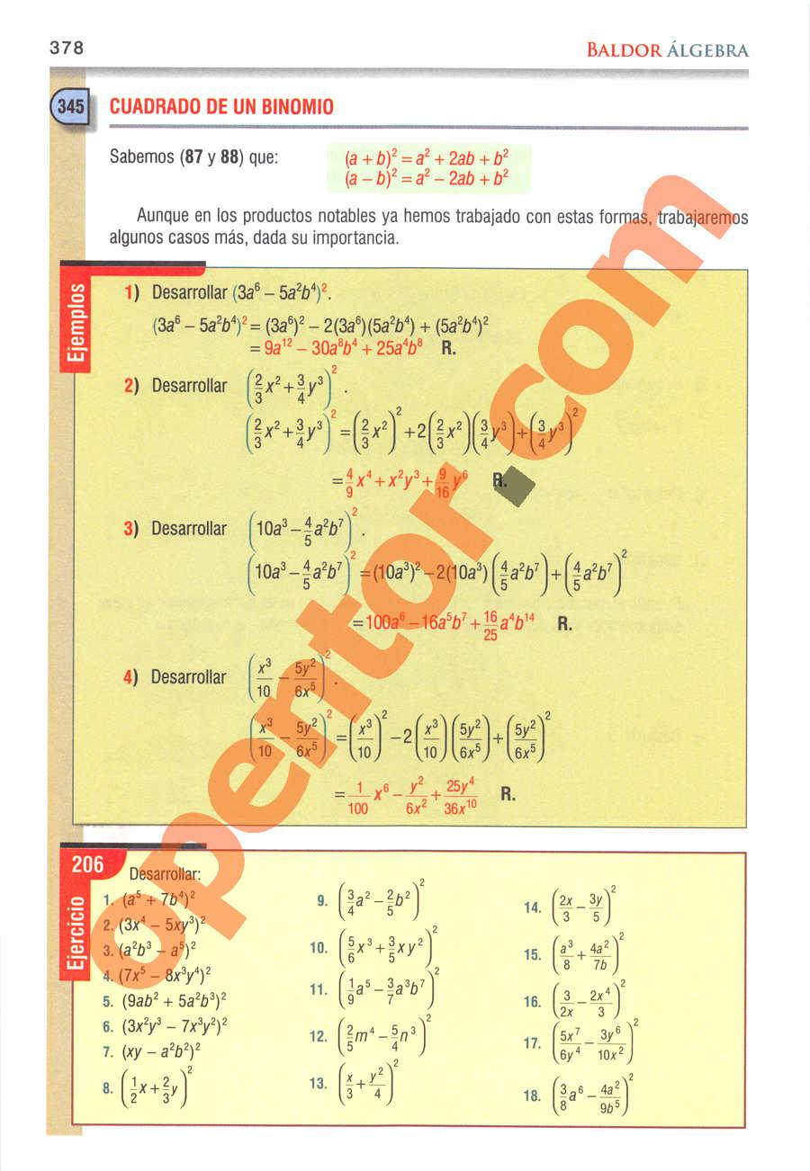 Álgebra de Baldor - Página 378